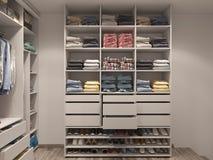 visualización 3D del cuarto del guardarropa en tonos ligeros Fotografía de archivo