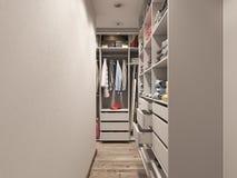 visualización 3D del cuarto del guardarropa en tonos ligeros Imagenes de archivo