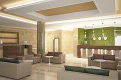 visualización 3D del diseño interior del hotel Fotos de archivo