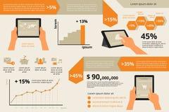 Visualización de Infographic de la PC de la tableta de la utilidad Imagen de archivo libre de regalías