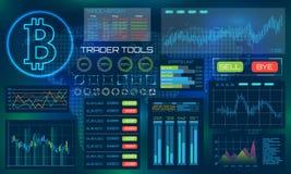Visualización de la tecnología de Bitcoin Diseño estético futurista Fondo de la moneda BTC del pedazo con HUD Elements stock de ilustración