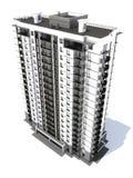 Visualización del edificio residencial de varios pisos moderno Fotografía de archivo
