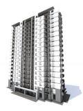 Visualización del edificio residencial de varios pisos moderno Imagenes de archivo