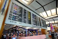 Visualización del vuelo del aeropuerto de Singapur Changi Foto de archivo libre de regalías