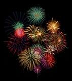 Visualización festiva de los fuegos artificiales Imagenes de archivo