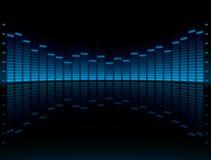 Visualización gráfica azul del equalizador stock de ilustración