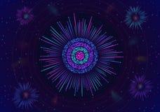Visualización grande de la circular de los datos Análisis de la información Fondo de la ciencia/de la tecnología Los datos comple stock de ilustración