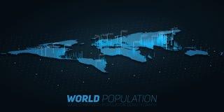 Visualización grande de los datos del mapa de la población de mundo Mapa futurista infographic Estética de la información Complej ilustración del vector