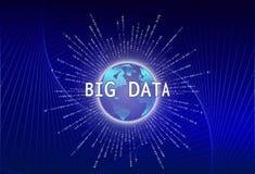 Visualización grande de los datos Infographic futurista con tierra olográfica del planeta y código binario Información estética ilustración del vector
