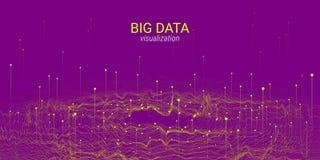 Visualización grande de los datos de la onda 3D Análisis Infographic stock de ilustración