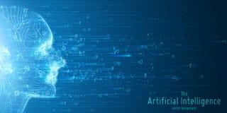 Visualización grande humana de los datos Concepto futurista de la inteligencia artificial Diseño estético de la mente cibernética stock de ilustración