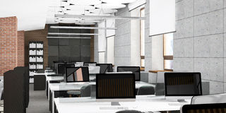 Visualización vacía del lugar de trabajo de oficina Imágenes de archivo libres de regalías