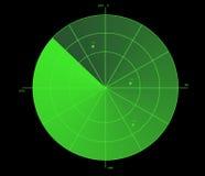 Visualización verde del radar Fotos de archivo
