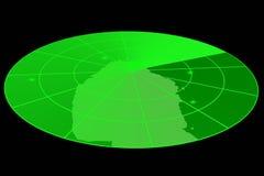 Visualización verde del radar Imagen de archivo libre de regalías
