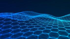 Visualizaci?n grande de los datos Fondo futurista del hex?gono Fondo grande de la conexi?n de datos representaci?n 3d stock de ilustración