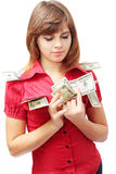 Visualization. Young woman is the visualization of the money Stock Photo
