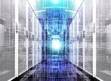 visualization av datalagret med byte av mappar och data Futuristiska kuber av partiklar på bakgrunden av korridoren fotografering för bildbyråer
