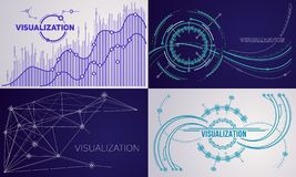 Visualization banner set, outline style stock illustration