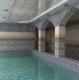 visualization 3D av det inre utrymmet med en simbassäng i en mosaik Arkivbild