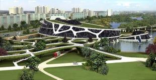 visualization 3D av ecobyggnaden med den bioniska formen och energi-effektiva teknologier. Royaltyfri Fotografi