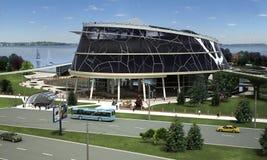 visualization 3D av ecobyggnaden med den bioniska formen och energi-effektiva teknologier. Royaltyfria Foton