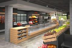 visualization 3D av inre av livsmedelsbutiken Design i vindstil Arkivfoton