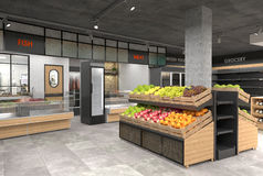 visualization 3D av inre av livsmedelsbutiken Design i vindstil Fotografering för Bildbyråer