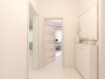 visualization 3D av inre designkitchen i en studiolägenhet Royaltyfri Foto
