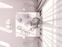 visualization 3D av inre designkitchen i en studiolägenhet Arkivfoton