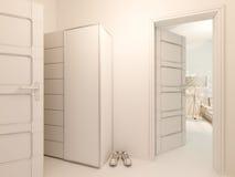 visualization 3D av korridoren för inredesign i en studiolägenhet Royaltyfri Fotografi