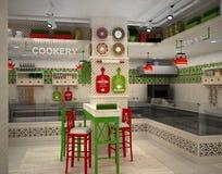 visualization 3d av matlagret Inre i Provence stil Arkivbilder