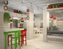 visualization 3d av matlagret Inre i Provence stil Arkivfoton