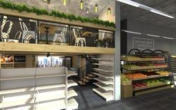 visualization 3d av matlagret med ett kafé inom Offentlig inre i vindstilen Royaltyfria Bilder