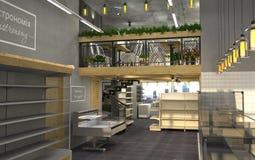 visualization 3d av matlagret med ett kafé inom Offentlig inre i vindstilen Royaltyfri Fotografi