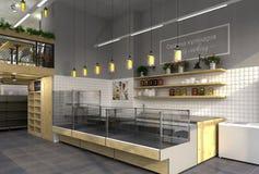 visualization 3d av matlagret med ett kafé inom Offentlig inre i vindstilen Royaltyfria Foton