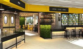 visualization 3d av matlagret med ett kafé och en stång inom Inre i vindstilen Royaltyfri Bild
