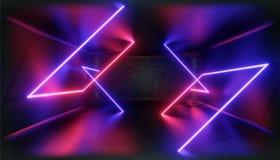 visualization 3d Geometriskt diagram i neonljus mot en mörk tunnel Laser-glöd royaltyfri illustrationer