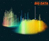Visualization för data 3D för vektor abstrakt stor med stänger Estetisk design för futuristisk infographics Royaltyfri Foto