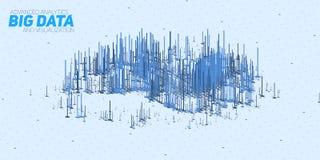 Visualization för data 3D för vektor abstrakt stor med stänger Estetisk design för futuristisk infographics Royaltyfri Bild