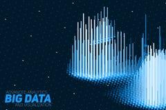 Visualization för data 3D för vektor abstrakt stor med stänger Estetisk design för futuristisk infographics V Royaltyfri Fotografi