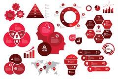 Visualization för diagram för beståndsdelar för pil för graf för affär för intrig Infographic fastställd för röd färg vektor illustrationer