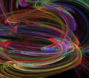 Visualization of fractal vortex of colored lines. Stock Images