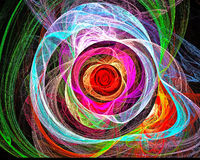 Visualization of fractal vortex of colored lines. Royalty Free Stock Images