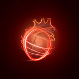 Visualization of the human heart made of neon lines Royalty Free Stock Image