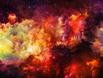 Visualization of Nebula. Colors in Space series. Backdrop of clouds and space elements to complement your design on the subject of art, creativity, imagination Royalty Free Stock Photography