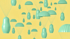 Visualization of nesting doll paratroopers royalty free stock image