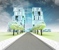 Visualization of new road to the city of future with sky Royalty Free Stock Photography