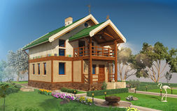 Visualization, rendering, architecture,  illustration. Drea. 3D visualization, rendering, architecture, 3D illustration. Dream house. Cozy home Small house Royalty Free Stock Image