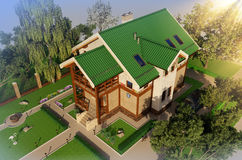 Visualization, rendering, architecture,  illustration. Drea. 3D visualization, rendering, architecture, 3D illustration. Dream house. Cozy home Small house Stock Photography