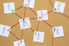Visualization of a social network on a cork bulletin board Stock Photography
